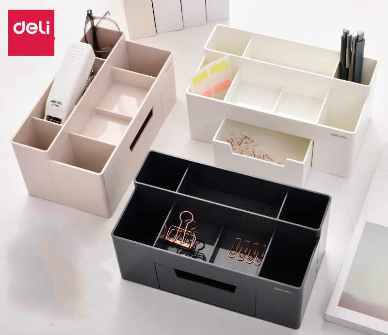 Deli 8914 Косметика креативная коробка для хранения гостиной отделение для мусора с раздельным ящиком ручка для офиса канцелярские принадлежности