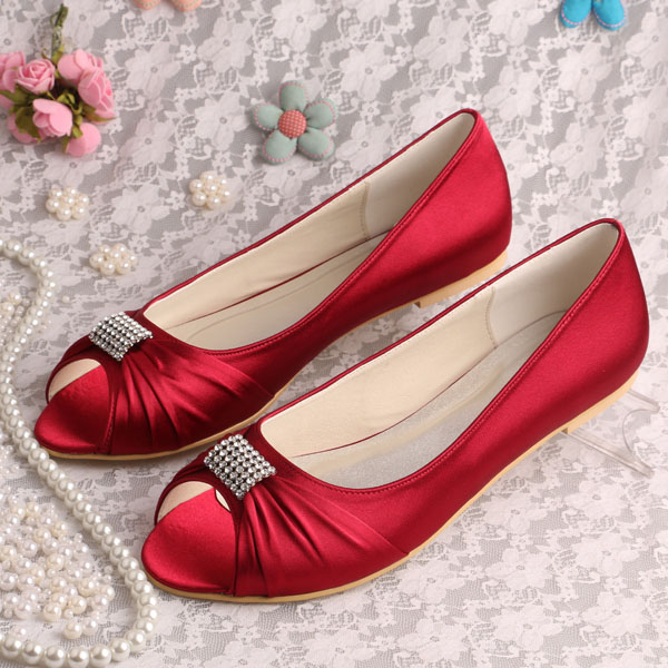Wedopus High Quality Flat Burgundy Satin Bridal Shoes Peep