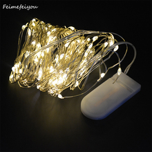 купить Feimefeiyou 5m/10M 100LED 2 button Battery Powered Copper Wire String Lights Indoor Outdoor for wedding new year party decor по цене 119.19 рублей