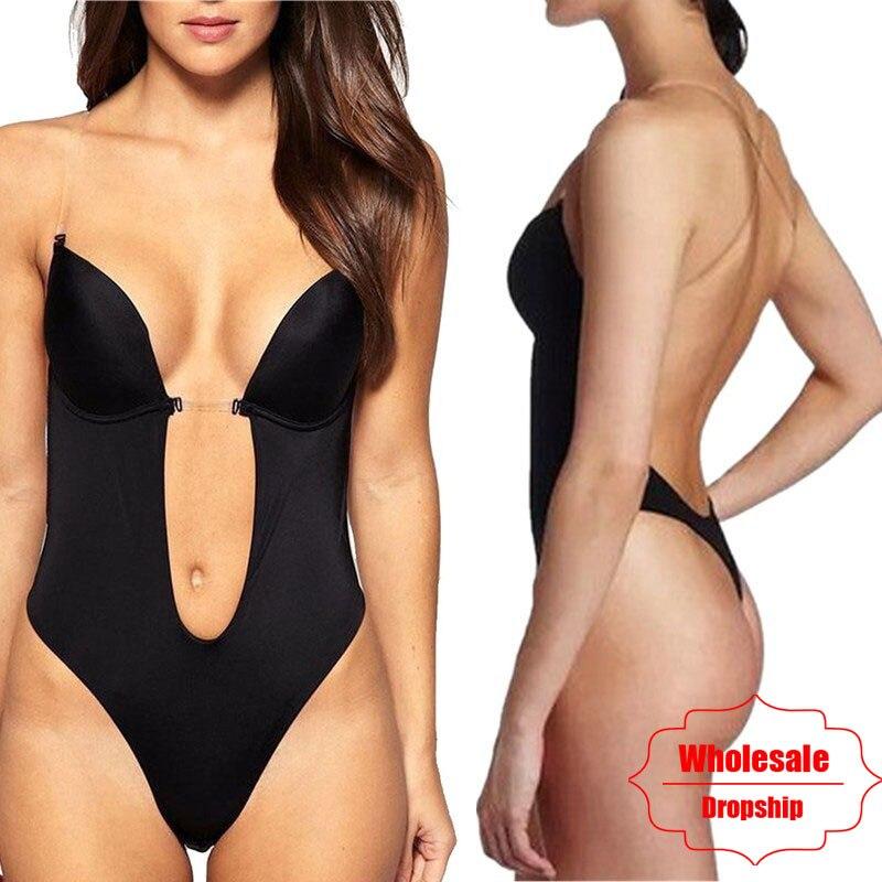 NINGMI Party Dress Bodysuit Underwear Women Body Shaper Slips Backless Bra G-string Waist Trainer U Plunge Underdress Shapewear