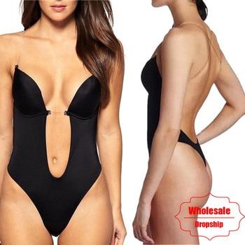 Party Dress Underwear Bodysuit Women Body Shaper Slips Backless Bra Thong Waist Trainer U Plunge Underwear Shapewear