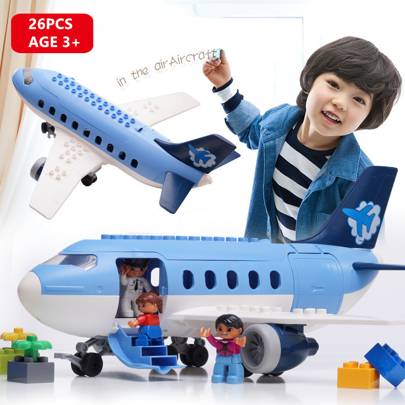 Air Passenger Plane Large Particles Building Blocks Sets Kids DIY Educational Toys for Children Compatible LegoINGs Duplo BricksAir Passenger Plane Large Particles Building Blocks Sets Kids DIY Educational Toys for Children Compatible LegoINGs Duplo Bricks
