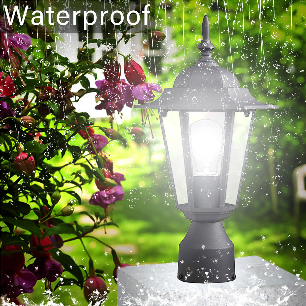 Us 15 57 18 Off Post Pole Light Outdoor Garden Patio Driveway Yard Lantern Lamp Fixture Black Shade For 0424 In Solar