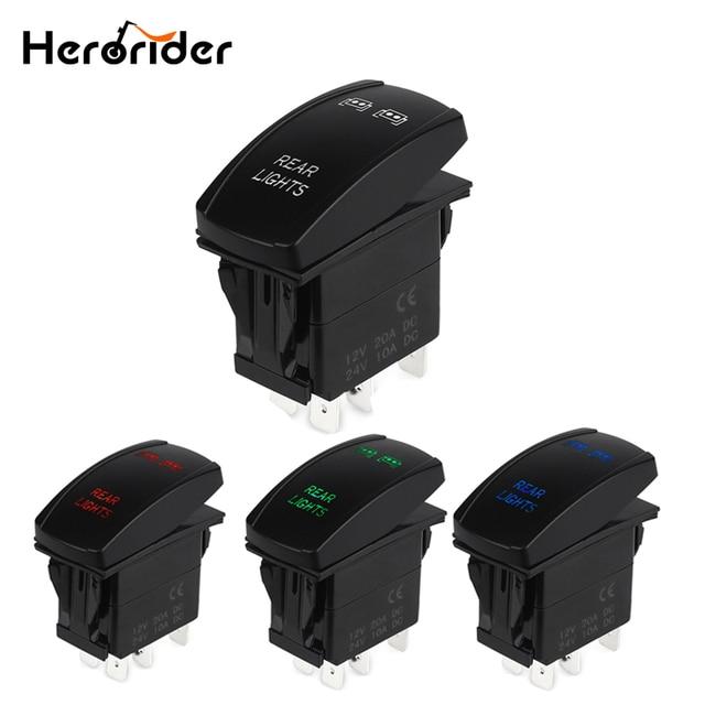 Herorider 5pin Botão Rocker Toggle Switch LED Azul Do Laser Barra de Luz Auto Levou Barra de Luz Interruptor À Prova D' Água 12 V