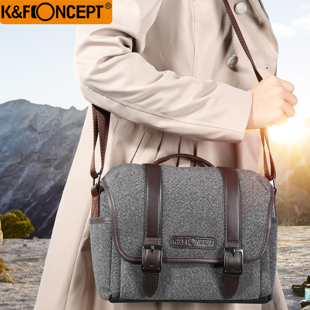 K & F CONCEPT Cámara bolsa DSLR hombro Bolsa S tamaño impermeable Unisex moderno Casual estilo extraíble divisor antideslizante inferior gris