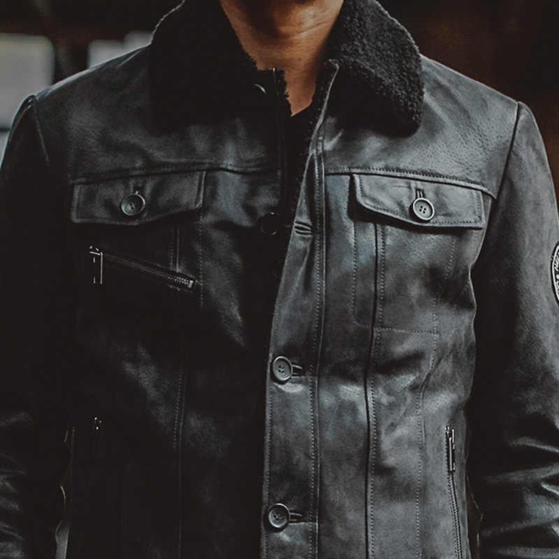 メンズブラックリアルレザージャケット本革ジャケット豚皮毛皮の襟オートバイのジャケット冬暖かいコート男性