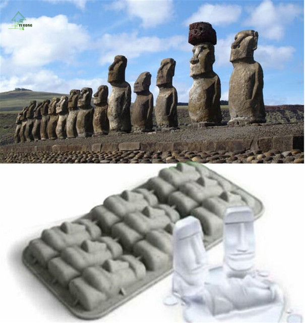 YIHONG Moai Stone Statues Ice Cube Tray Ice Cream Makers DIY Mould Pudding  Jelly Mold Silicone