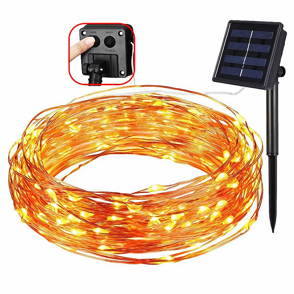 8 mode 5M 50LEDs/ 10M 100LEDs/20M 200LEDs solar powered LED Copper Wire lighting Outdoor holiday Garden party Christmas decorati