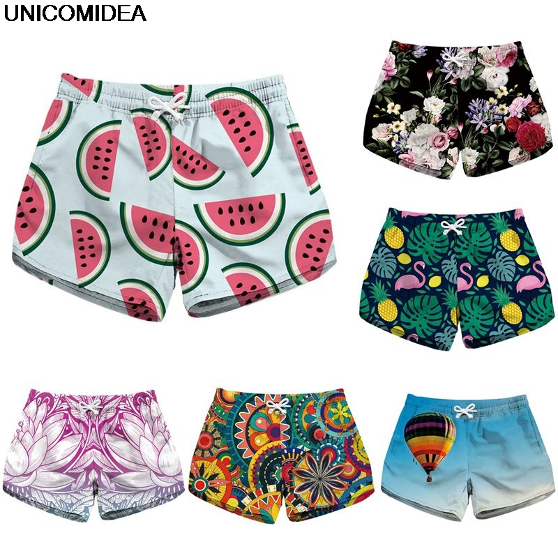 Watermelon Flamingo Hawaiian Summer Women Shorts Sports Running Shorts Quick Dry Beach Vacation Swim Surf Boards Swimwear