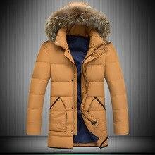 Мужская мода енот Надьямарош воротник пиджаки Ветровка Ветрозащитный теплые Куртки Вниз Пальто куртка Плюс размер