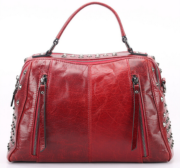 New leather handbag The first layer oil wax cowhide single shoulder hand bag,pinepoxp bag europe and the first layer of leather woven bag bag leather making small bag 2018 new single shoulder bag lady