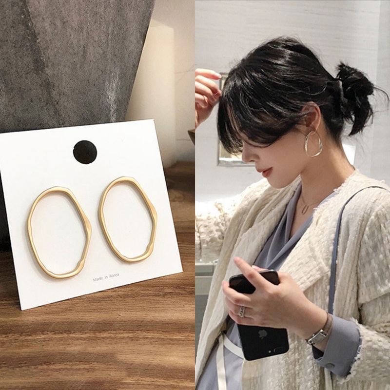 MENGJIQIAO 2019 Punk Simple Design Metal Oval Hoop Earrings For Women  Jewelry Geometric Circle Brincos Party Ear Accessory