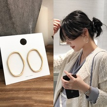 MENGJIQIAO 2019 Punk Simple Design Metal Oval Hoop Earrings For Women  Jewelry Geometric Circle Brincos Party Ear Accessory