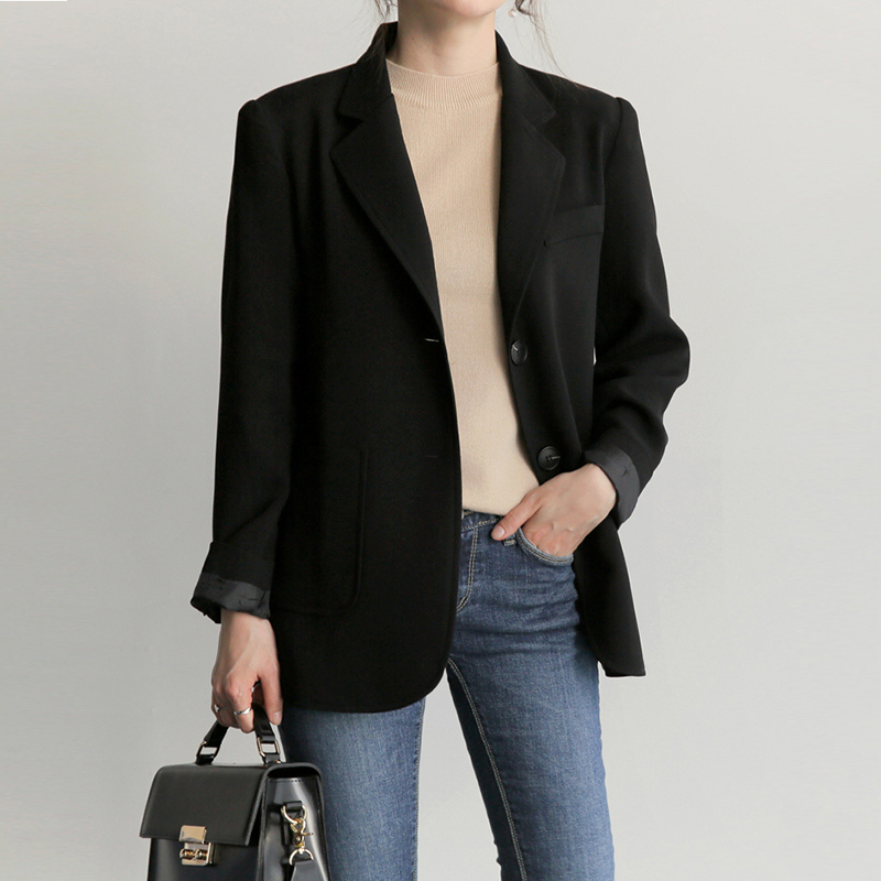 Spring and autumn new black loose large size Korean fashion leisure wild female career suit jacket ...