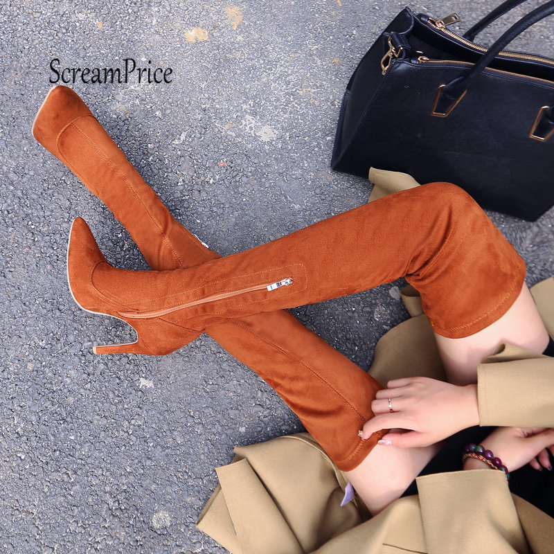 Fashion Thin High Heel Over The Knee Side Zipper Pointed Toe Winter Warm Thigh Boots women faux suede side zipper sexy thin high heel thigh boots fashion pointed toe winter shoes black g