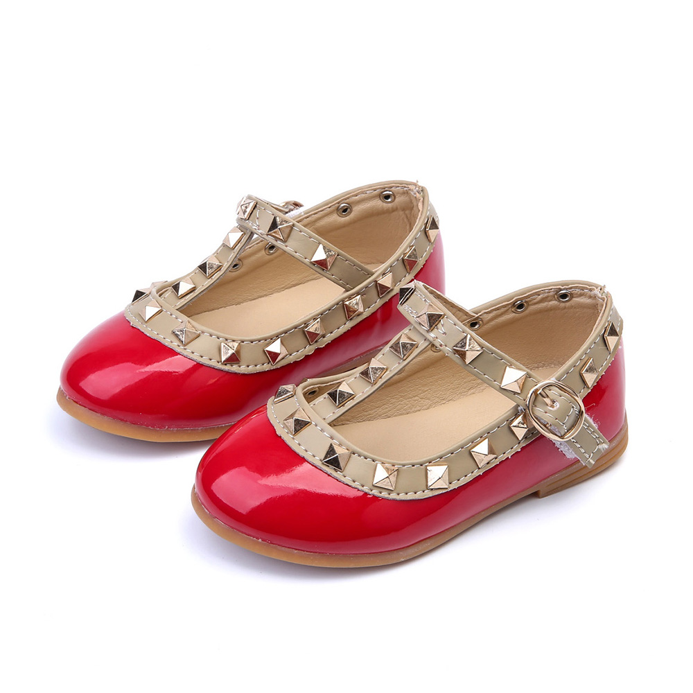 2019 Girls Sandals Fashion Casual Girls Leather Shoes Baby Princess Shoes Dancing Flats Infant Fashion Flats Girls Rivet Shoes