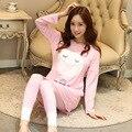 Plus Size Novo 2017 Inverno Mulheres Pijama Sleepwear Conjunto Casa Pijama Camisola O-pescoço Manga Longa Pijama Femme Mujer