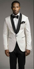 Top selling new white jacket and black satin lapel, groom's best man, men's wedding dress (coat + pants + vest and tie)