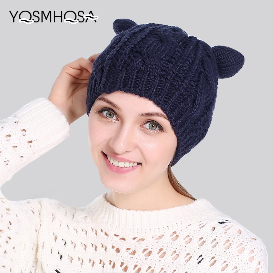 Cute Girl Bear Ear Knitted   Beanie   Warm Soft Winter Hats For Women High Qualiyt Winter Cap   Skullies   &   Beanies   WH117