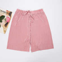Wide leg  female ice silk shorts pleated shorts home Wearing a bloomer loose slim casual shorts boxed pleated grommet drawstring shorts