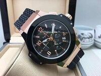 Роскошные брендовые новые мужские секундомер кварцевые хронограф часы розовое золото серебро черный резиновый сапфир большие часы ограни