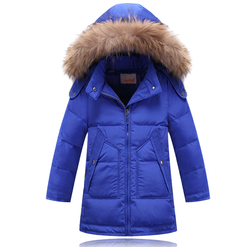 2017 winter children midem long jackets boys girls down coat baby coat kids warm outerwear real fur hooded coats wadded parkas