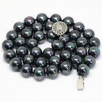 Natural rainbow black shell pearl round 8,10mm fashion beads elegant necklace gifts party chains necklaces jewelry 18inch B1469