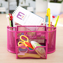 Metal Organizer Mesh Desktop Bin Table With 9 Cell Jewelry High Quality Storage Box Drawer Pencil Pen Holder For Neatening Tools sosw multifunctional 9 components metal table statinery storage box desktop organizer with drawers sky blue
