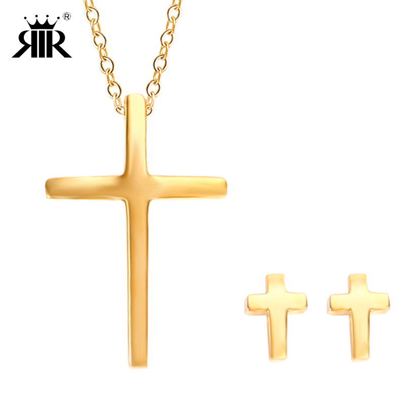 RIR Silver And Gold Christian Cross Pendant Necklace Stainless Steel Fashion  Tiny Elegant Cross Jewelry Set For Women Lady Gifts 8ac68c94fc9d