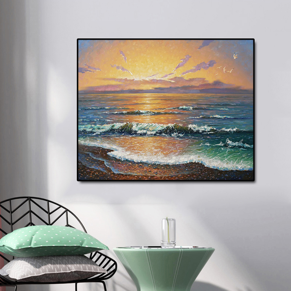 Seascape Sunset Famous Oil Painting Wall Art Poster Print Canvas Calligraphy Decor Picture for Living Room Home