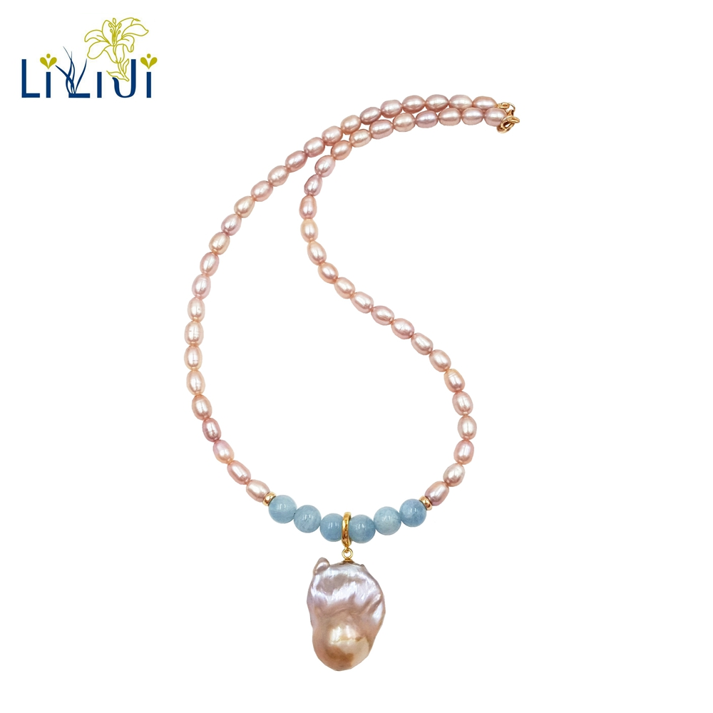 Lii Ji Gemstone Natural Aquamarine,Baroque Pearl ,Freshwater Pearl 925 Sterling Silver 18K Gold Plated Elegant Necklace