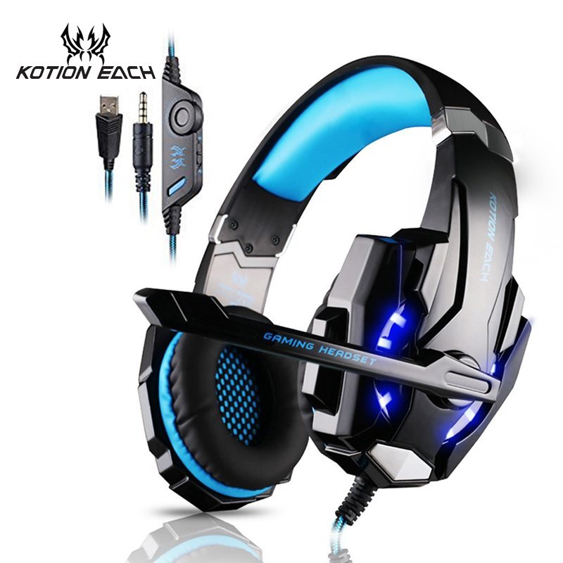KOTION EACH Gaming headphone Earphone Gaming Headset Headphone Xbox One Headset with microphone for pc ps4 playstation 4 laptop g1100 3 5mm pro gaming headset headphone for ps4 laptop crack pattern led led blue black red white