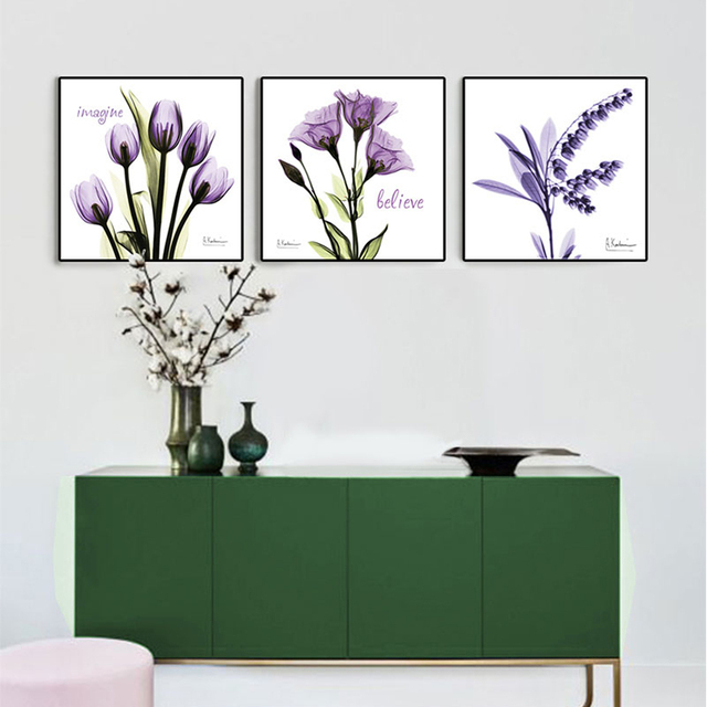 X Ray Flowers Modern Posters And Prints Purple Home Decor