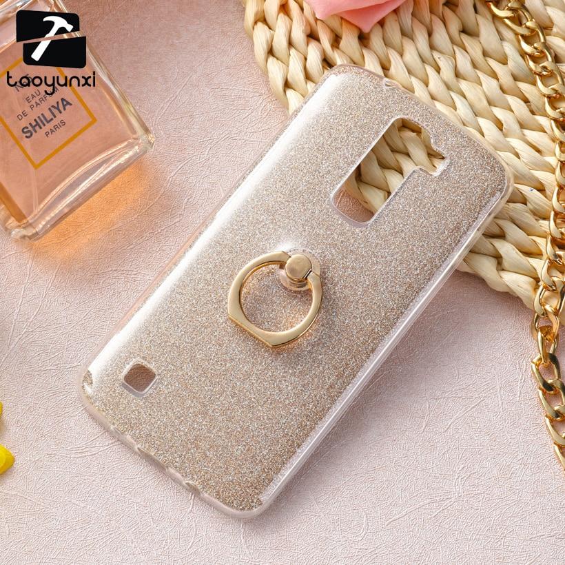 TAOYUNXI случае блеск кремния для LG K10 LTE K430 M2 F670 Q10 K410 K430DS K420N F670L F670S Чехол Мягкий ТПУ палец кольцо чехол для телефона