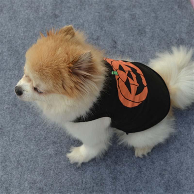 Halloween Pet Costume Dog Vest T Shirt Festivals Pumpkin Puppy Black T-shirt Cotton Pet Clothes for Doggie Cats Ferret6