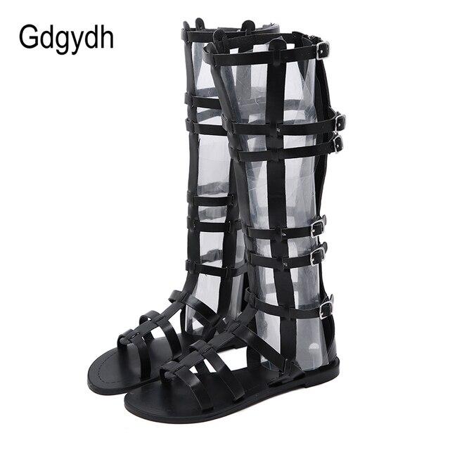 Gdgydh Yaz Gladyatör Ayakkabı Kadın Roma Peep Toe Kadın Çizmeler Diz Üzerinde Zip Cut-çıkışları Yılan Cilt Kadın ayakkabı Damla Nakliye