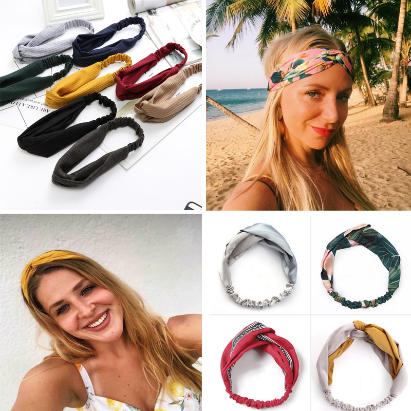 Summer Chiffon Headband Lovely Hairband Women Turban Twist Cross Hair Bands Headwear Women  Hair Accessories Wholesale