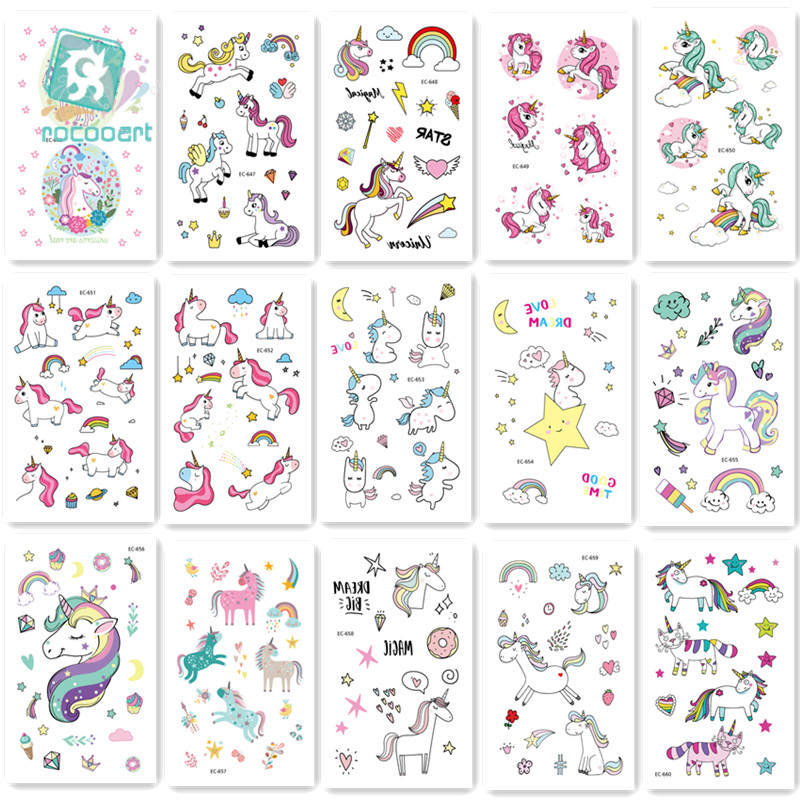 15pcs/set Children Tattoo Sticker Cartoon Tatuajes Temporal Kids Waterproof Fake Tatoo Hand Taty Cute Unicorn Tatouage Body Art