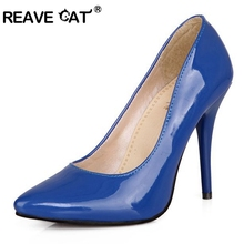 REAVE CAT Plus size 30-48 Fashion Sexy Pointed toe Sweet Colorful Thin high heels Woman shoes Women's Pumps Nude RL1293(China)