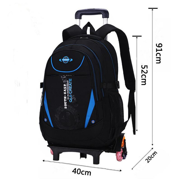 3PCS Wheels Removable Kids Children School Trolley Backpack Bag Boys Rucksack