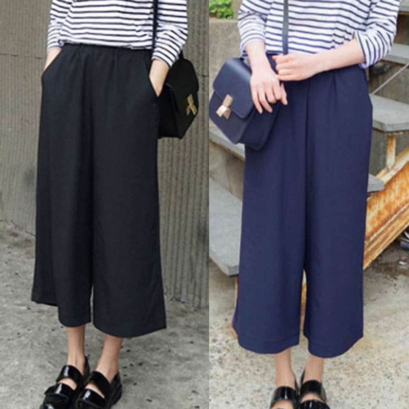 Spring Summer Women   Wide     Leg     Pants   With Pocket Chiffon Solid Color High Waist Loose Casual Trouser IK88