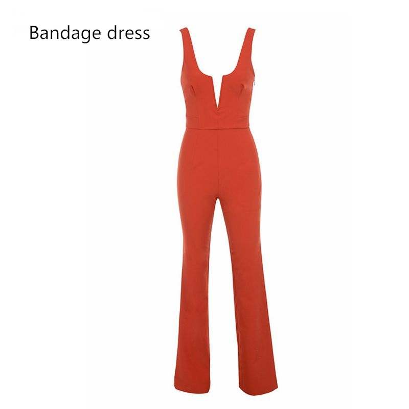 2017 New Summer Women Bandage Jumpsuit Red ORANGE V Neck Sleeveless Celebrity Party Rompers Sexy Backless Skinny BodysuitLB-M428