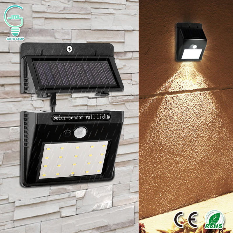 20 LED Separable Solar Lamp Rechargeable PIR Motion Sensor Activated Solar Powered Light Waterproof Garden Security Wall Lamp