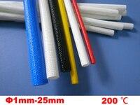 8 м 6 мм черный белый 200 Deg C высокотемпературный вне-самообсадная труба из силиконовой смолы плетеный стекловолокно рукав стекловолокна стек...
