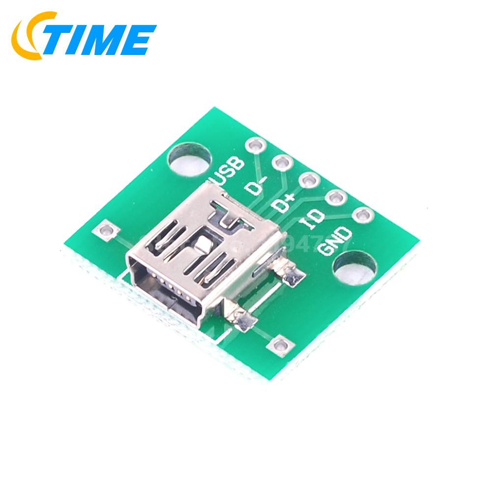 5pcs Micro Usb To Dip 254mm Adapter Connector Module Board 5pin Atmel Programmer Circuit Zif Socket Usbasp Atmega8 1 Mini Converter For Pcb Diy 02