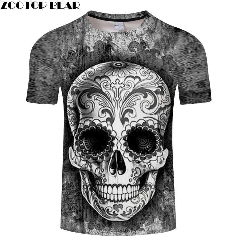 Tinta y calavera 3D imprimir camiseta hombres mujeres camiseta Verano  Divertido manga corta cuello redondo Tops ce0459c3e3d