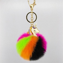 Clearance Sale New Women Fur Pompom Unicorn Keychain Fluffy Artificial Rabbit Fur Key Chains For Cars Bag Rainbow Horse Keyrings