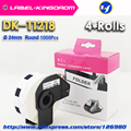 4 рулона Универсальный DK-11218 этикетка совместима для принтера Brother Label диаметр 24 мм круглый Все поставляется с пластиковым держателем
