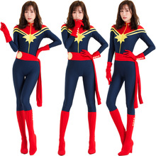 Adult Captain Marvel Cosplay Costume Women Superhero Halloween Ms Carol Danvers Jumpsuit Bodysuit