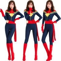 Adult Captain Marvel Cosplay Costume Women Superhero Marvel Women Cosplay Halloween Ms Marvel Carol Danvers Jumpsuit Bodysuit